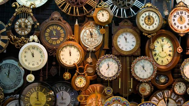 Wall of Clocks in a Store. Image shot 2007. Exact date unknown.